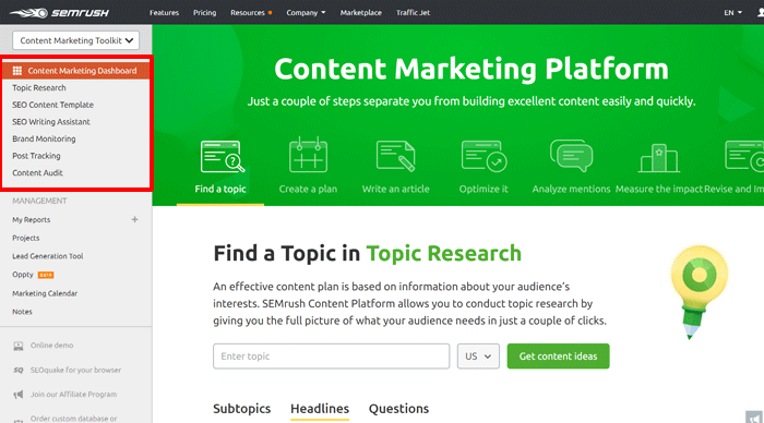 SEMrush content toolkit