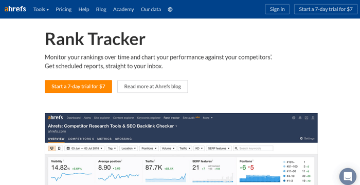 Ahref to track keyword ranking in google search